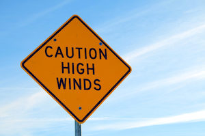 Caution High Winds Sign